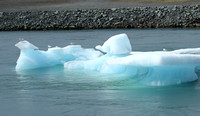 Blue Icebergs in Jokulsarlon outlet