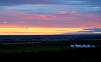 Midnight sunset, view north towards West Fjords